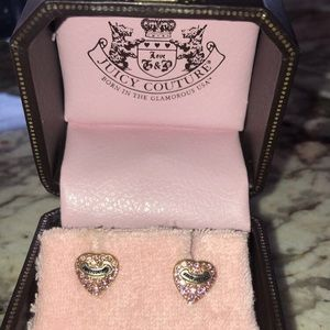 Juicy couture heart earring with pink rhinestones